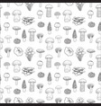 seamless pattern of edible mushrooms for vector image