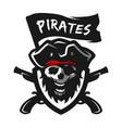 skull captain pirates logo emblem vector image vector image