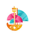 small sailing ship with blue and pink sails flat vector image vector image