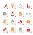 stylized female accessories and clothes icons vector image vector image