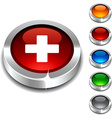 Switzerland 3d button vector image vector image