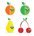worm in fruit color vector image