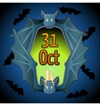 Greeting card for Halloween with bat vector image