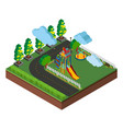 3d design for playground and road scene vector image