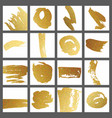a set of cards with gold brush strokes for the vector image vector image