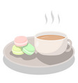 afternoon tea set with macarons on white vector image