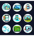 Augmented Reality Round Icons Set vector image vector image