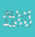 body parts cartoon hands and legs animation vector image