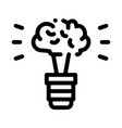 brain idea lamp icon outline vector image vector image