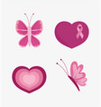 breast cancer awareness month pink ribbon heart vector image vector image