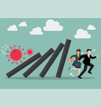 businessman and woman running away from domino vector image
