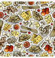 cartoon cute hand drawn italian food seamless vector image vector image