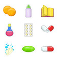 chemistry icons set cartoon style vector image vector image