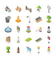 city elements isometric icons vector image vector image