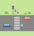 city street and road children get ready to cross vector image vector image