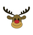 color image cartoon cute face reindeer animal vector image