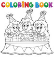coloring book kids party theme 1 vector image vector image