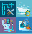conceptual pictures set plumbing works vector image
