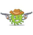 cowboy green bacteria character cartoon vector image vector image