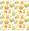 cute easter seamless pattern of rabbit with eggs vector image vector image