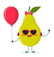 cute pear green cartoon character sunglasses vector image