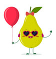 cute pear green cartoon character sunglasses vector image vector image