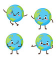 cute planet earth character set vector image