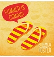 Cute summer poster - slippers on the beach with vector image vector image