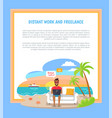 distant work freelance poster freelancer worker vector image vector image