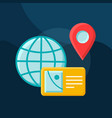 earth globe flat concept icon vector image