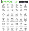 eco energy thin line web icons set renewable vector image vector image