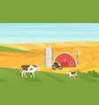 eco village countryside rural landscape cow vector image