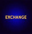 exchange neon text vector image