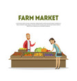 farm market cheerful male farmer selling vector image vector image
