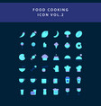 food cooking icon set flat style design set vol 2 vector image vector image