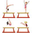 Gymnastics players on balance beam vector image vector image