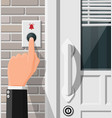 hand push bell button at front door vector image vector image