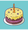 Happy birthday anniversary card with cupcake and