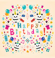 happy birthday greeting card with cute panda bears vector image