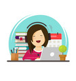happy person studying or working on desk on vector image