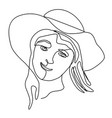 happy woman in hat laughing one line art portrait vector image vector image