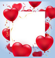 heart balloons greeting card frame vector image