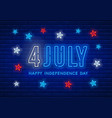 independence day neon sign vector image vector image