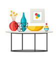 interior home decor table with vases and picture vector image vector image