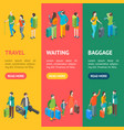 isometric travel people characters banner vector image