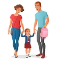 Little girl in going to school with parents vector image