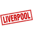 Liverpool red square grunge stamp on white vector image vector image