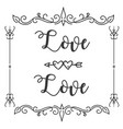love love abstract design square frame white backg vector image vector image