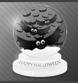 magic globe with flying bats halloween design vector image vector image