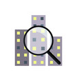 magnifier and city icon vector image